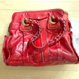 Chloe Heloise tote red leather